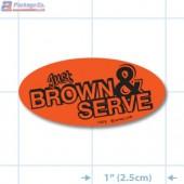 Just Brown & Serve Fluorescent Red Oval Merchandising Labels - Copyright - A1PKG.com SKU - 11073