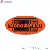 Microwavable Fluorescent Red Oval Merchandising Labels - Copyright - A1PKG.com SKU - 11074