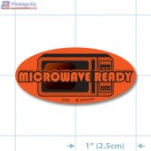 Microwave Ready Fluorescent Red Oval Merchandising Labels - Copyright - A1PKG.com SKU - 11075