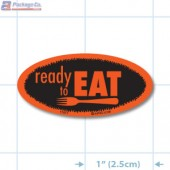 Ready To Eat Fluorescent Red Oval Merchandising Labels - Copyright - A1PKG.com SKU - 11077