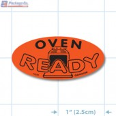 Oven Ready Fluorescent Red Oval Merchandising Labels - Copyright - A1PKG.com SKU - 11078