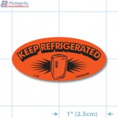Keep Refrigerated Fluorescent Red Oval Merchandising Labels - Copyright - A1PKG.com SKU - 11180