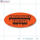 Previously Frozen Fluorescent Red Oval Merchandising Labels - Copyright - A1PKG.com SKU - 11181