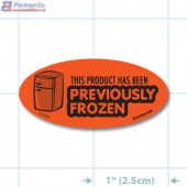 Previously Frozen Fluorescent Red Oval Merchandising Labels - Copyright - A1PKG.com SKU - 11182