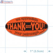 Paid Thank You Fluorescent Red Oval Merchandising Labels - Copyright - A1PKG.com SKU - 11285