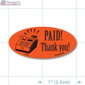 Paid Thank You Fluorescent Red Oval Merchandising Labels - Copyright - A1PKG.com SKU - 11286