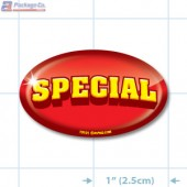 Special Full Color (Red) Oval Merchandising Labels - Copyright - A1PKG.com SKU - 13101