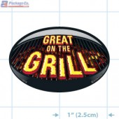 Great on the Grill Full Color Oval Merchandising Label Copyright A1PKG.com - 14013