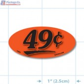 49¢ Fluorescent Red Oval Merchandising Price Label Copyright A1PKG.com - 14401