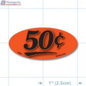 50¢ Fluorescent Red Oval Merchandising Price Label Copyright A1PKG.com - 14402