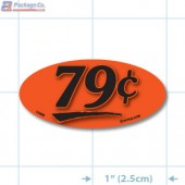 79¢ Fluorescent Red Oval Merchandising Price Label Copyright A1PKG.com - 14405