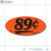 89¢ Fluorescent Red Oval Merchandising Price Label Copyright A1PKG.com - 14406