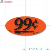 99¢ Fluorescent Red Oval Merchandising Price Label Copyright A1PKG.com - 14407