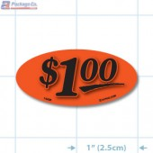 $1.00 Fluorescent Red Oval Merchandising Price Label Copyright A1PKG.com - 14408