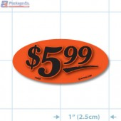 $5.99 Fluorescent Red Oval Merchandising Price Label Copyright A1PKG.com - 14435
