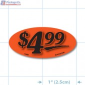 $4.99 Fluorescent Red Oval Merchandising Price Label Copyright A1PKG.com - 14453