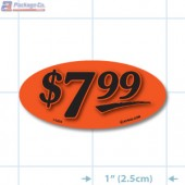 $7.99 Fluorescent Red Oval Merchandising Labels - Copyright - A1PKG.com SKU # 14454