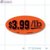 $3.99/ LB Fluorescent Red Oval Merchandising Labels - Copyright - A1PKG.com SKU - 14501