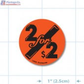 2 for $2 Fluorescent Red Circle Merchandising Label Copyright A1PKG.com - 14802