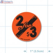 2 for $3 Fluorescent Red Circle Merchandising Label Copyright A1PKG.com - 14803