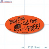 Buy One Get One Fluorescent Red Oval Merchandising Labels - Copyright - A1PKG.com SKU - 14898