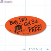 Buy Two Get 3rd Free Fluorescent Red Oval Merchandising Labels - Copyright - A1PKG.com SKU - 14899