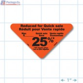 Reduced 25% Fluorescent Red Oval Merchandising Labels - Copyright - A1PKG.com SKU - 14901