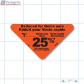 Reduced 25% Fluorescent Red Oval Merchandising Labels - Copyright - A1PKG.com SKU - 14901