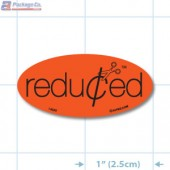 Reduced Scissors Fluorescent Red Oval Merchandising Labels - Copyright - A1PKG.com SKU - 14988