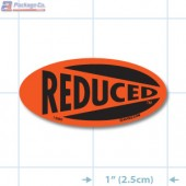 Reduced Fluorescent Red Oval Merchandising Labels - Copyright - A1PKG.com SKU - 14989