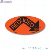 Reduced Arrow Fluorescent Red Oval Merchandising Labels - Copyright - A1PKG.com SKU - 14990