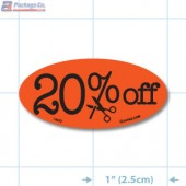 20% Off Fluorescent Red Oval Reduction Merchandising Labels - Copyright - A1PKG.com SKU - 14992
