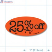 25% Off Fluorescent Red Oval Reduction Merchandising Labels - Copyright - A1PKG.com SKU - 14993