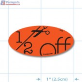 Half Off Fluorescent Red Oval Merchandising Labels - Copyright - A1PKG.com SKU - 14995