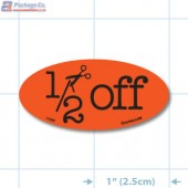 Half Off Fluorescent Red Oval Merchandising Labels - Copyright - A1PKG.com SKU - 14996