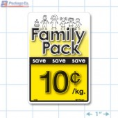 Family Pack Save 10¢ per kg Bright Yellow Rectangle Merchandising Labels - Copyright - A1PKG.com SKU - 15101