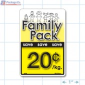 Family Pack Save 20¢ per kg Bright Yellow Rectangle Merchandising Labels - Copyright - A1PKG.com SKU - 15102