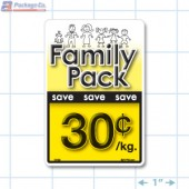 Family Pack Save 30¢ per kg Bright Yellow Rectangle Merchandising Labels - Copyright - A1PKG.com SKU - 15103