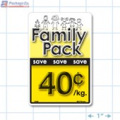 Family Pack Save 40¢ per kg Bright Yellow Rectangle Merchandising Labels - Copyright - A1PKG.com SKU - 15104