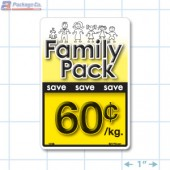 Family Pack Save 60¢ per kg Bright Yellow Rectangle Merchandising Labels - Copyright - A1PKG.com SKU - 15106