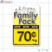 Family Pack Save 70¢ per kg Bright Yellow Rectangle Merchandising Labels - Copyright - A1PKG.com SKU - 15107