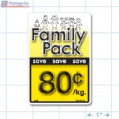 Family Pack Save 80¢ per kg Bright Yellow Rectangle Merchandising Labels - Copyright - A1PKG.com SKU - 15108