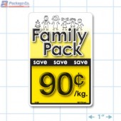Family Pack Save 90¢ per kg Bright Yellow Rectangle Merchandising Labels - Copyright - A1PKG.com SKU - 15109