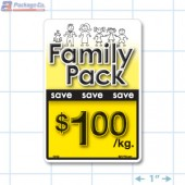 Family Pack Save $1.00 per kg Bright Yellow Rectangle Merchandising Labels - Copyright - A1PKG.com SKU - 15110