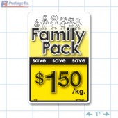 Family Pack Save $1.50 per kg Bright Yellow Rectangle Merchandising Labels - Copyright - A1PKG.com SKU - 15112