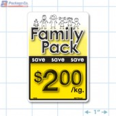 Family Pack Save $2.00 per kg Bright Yellow Rectangle Merchandising Labels - Copyright - A1PKG.com SKU - 15113