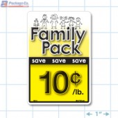 Family Pack Save 10¢ per lb Bright Yellow Rectangle Merchandising Labels - Copyright - A1PKG.com SKU - 15114