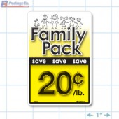 Family Pack Save 20¢ per lb Bright Yellow Rectangle Merchandising Labels - Copyright - A1PKG.com SKU - 15115