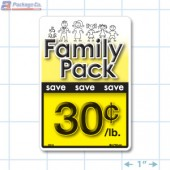 Family Pack Save 30¢ per lb Bright Yellow Rectangle Merchandising Labels - Copyright - A1PKG.com SKU - 15116
