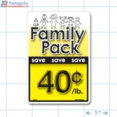 Family Pack Save 40¢ per lb Bright Yellow Rectangle Merchandising Labels - Copyright - A1PKG.com SKU - 15117